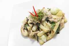 Stir fried Shanghai noodle with green curry Royalty Free Stock Photo