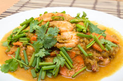 Stir-Fried Shrimp with Curry Powder Royalty Free Stock Image