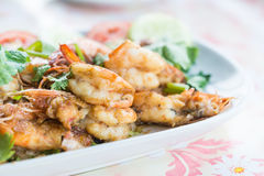 Stir-fried shrimp with garlic and pepper Stock Image