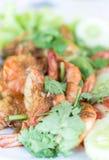 Stir-fried shrimp with garlic and pepper Stock Photos