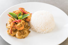 Stir fried shrimp and green curry Royalty Free Stock Images