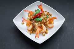 Stir fried shrimp with peppers and garlic Royalty Free Stock Image