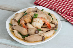 Stir-fried shrimp with pleurotus eryngii. Stir-fried shrimp with pleurotus eryngii Royalty Free Stock Image