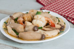 Stir-fried shrimp with pleurotus eryngii. Stir-fried shrimp with pleurotus eryngii Stock Image