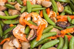 Stir fried shrimp with string bean Royalty Free Stock Photo