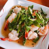 Stir fried shrimps. Stir fried shrimps with fresh chili and pepper stock photography
