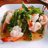 Stir fried shrimps. Stir fried shrimps with fresh chili and pepper stock photos
