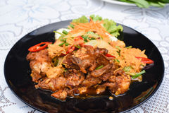 Stir-fried Soft-shelled Crab in Curry Powder. A Stir-fried Soft-shelled Crab in Curry Powder Royalty Free Stock Photo