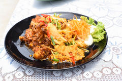 Stir-fried Soft-shelled Crab in Curry Powder. A Stir-fried Soft-shelled Crab in Curry Powder Royalty Free Stock Image