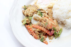 Stir-fried Soft-shelled seafood in curry powder & Thai jasmine rice. Thai Food Royalty Free Stock Photography