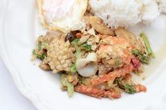 Stir-fried Soft-shelled seafood in curry powder & Thai jasmine rice. Thai Food Royalty Free Stock Photos