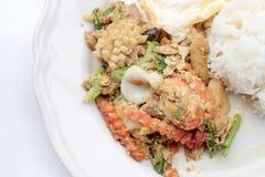 Stir-fried Soft-shelled seafood in curry powder & Thai jasmine rice. Thai Food Royalty Free Stock Image