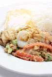 Stir-fried Soft-shelled seafood in curry powder & Thai jasmine rice. Thai Food Stock Images
