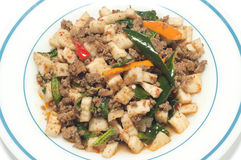 Stir-fried sour preserved young bamboo. Royalty Free Stock Photography