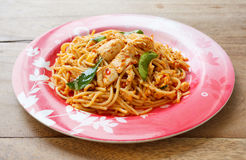 Stir Fried Spaghetti with Chicken in Chilli paste Stock Photography