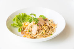 Stir fried Spaghetti with Chicken and egg. and egg. Stock Photography