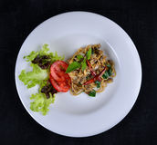 Stir fried spaghetti with clams and herbs Stock Photos