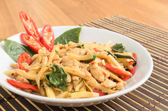 Stir fried spicy chicken with bamboo shoots Stock Photo