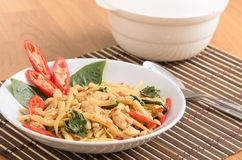 Stir fried spicy chicken with bamboo shoots Stock Images