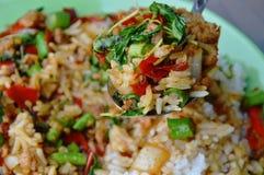 Stir-fried spicy chop pork with basil leaf and rice on spoon. Stir-fried spicy chop pork with basil leaf and rice on the spoon royalty free stock photography