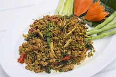 Stir-fried spicy minced beef. Stock Photography