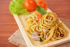 Stir-fried spicy spaghetti with chicken. Thai style Stock Photo