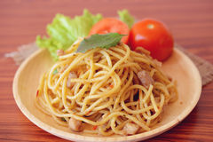 Stir-fried spicy spaghetti with chicken. Thai style Royalty Free Stock Image