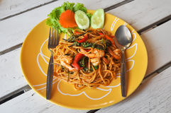 Stir Fried Spicy Spaghetti with Shrimp Royalty Free Stock Photo