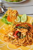 Stir Fried Spicy Spaghetti with Shrimp Stock Images