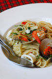 Stir Fried Spicy Spaghetti With Seafood Stock Image