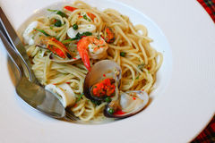 Stir Fried Spicy Spaghetti With Seafood Royalty Free Stock Photography