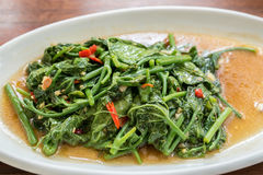Stir Fried sponach. Stir Fried morning glory Thai Water Spinach Royalty Free Stock Photography