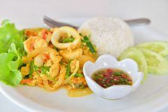 Stir fried squid with curry. Royalty Free Stock Image