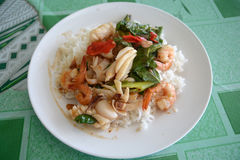 Stir-fried squid and shrimp with Holy Basil Royalty Free Stock Photography