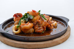 Stir Fried Squid and shrimp Royalty Free Stock Photo