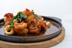 Stir Fried Squid and shrimp Stock Images
