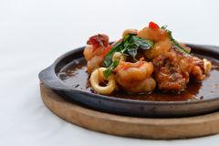 Stir Fried Squid and shrimp Stock Photography