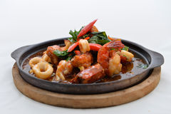 Stir Fried Squid and shrimp Stock Image