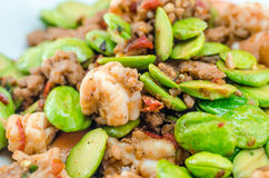 Stir-fried Stink Bean with Prawn, Asian Food Royalty Free Stock Photos