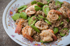 Stir fried stink bean with shrimp Royalty Free Stock Images