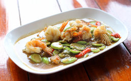 Stir-fried stink bean with shrimp Royalty Free Stock Photography