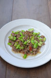 Stir-fried with stink beans and pork paste Stock Photo