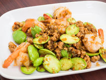 Stir-fried Stink Beans with Shrimp Stock Images