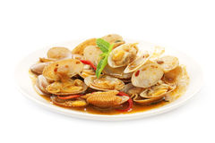 Stir  fried surf clams with roasted chili paste Stock Photos
