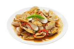 Stir  fried surf clams with roasted chili paste Royalty Free Stock Photo