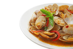 Stir  fried surf clams with roasted chili paste Royalty Free Stock Photos