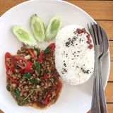 Stir fried sweet basil with minced pork. Served with steamed rice royalty free stock photography