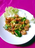 Stir fried Thai flat beans with shrimp and Shri paste. Stock Photos
