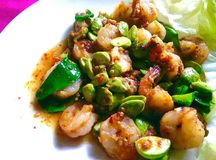 Stir fried Thai flat beans with shrimp and Shri paste. Stock Photography