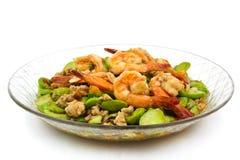 Stir-fried Thai Flat Beans with shrimp Stock Photo